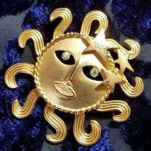 Vintage JJ sun face brooch gold tone Pin star